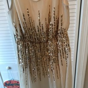 Cream and gold sparkle dress